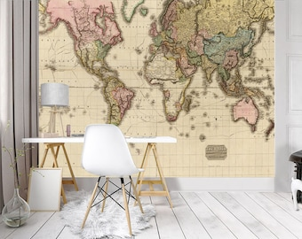 World map wall mural etsy ancient world map wall mural woven fabric self adhesive wall art decal graphic wallpaper stickers bedroom not vinyl m34 gumiabroncs Image collections