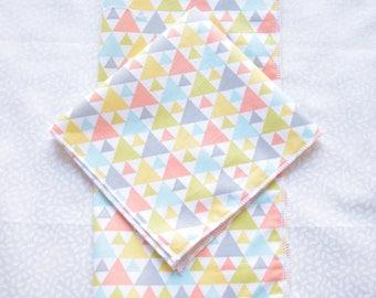 set of 2 beautiful handkerchiefs patterns geometric