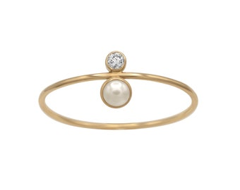 CHLOE Pearl Ring 14K Solid Gold White Moissanite and Freshwater Pearl, Dainty Handcrafted Stacking Ring, US made, birthday gift for her,