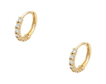MIKA 14K Diamond Huggie Hoop Earring // SOLD INDIVIDUALLY // 12mm Clicker Ear Hoop, Matte Finish, Recycled Gold, Gift Idea For Her