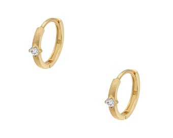 DARIA 14K Diamond Huggie Hoop Earring // SOLD INDIVIDUALLY // 12mm Clicker Ear Hoop, Matte Finish, Recycled Gold, Gift Idea For Her