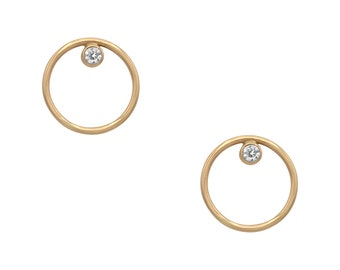 SKYE Moissanite Circle Stud Earring, 14K Solid Gold or Sterling Silver 925 w/ cubic zirconia, Handcrafted Fine Everyday Jewelry, US made