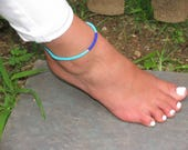 Teal and Navy Blue Beaded Anklet Blue Beaded Anklet Teal Anklet Navy Blue Anklet Ankle Bracelet