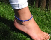 Blue Beaded Chip Stone Anklet Ankle Bracelet Beaded Bracelet Stretch