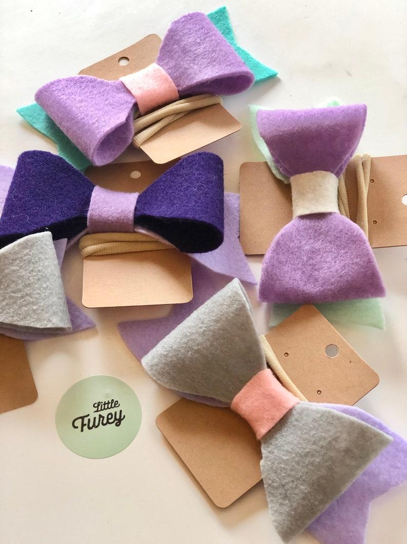 Shades of Purple Felt Bow with Elastic Band