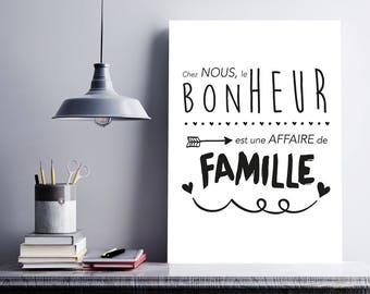 Poster/print quote - happiness in family