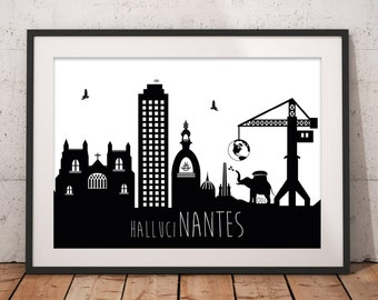 Displays nantes minimalist black and white large format: model HalluciNantes size A2