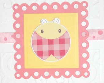 "Baby girl ""Congratulations"" greeting card - pink and yellow Ladybug"