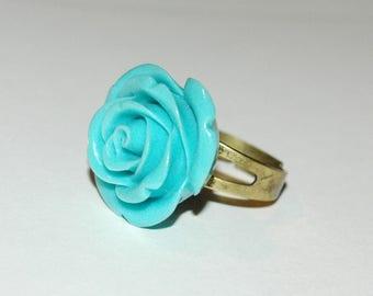Resin - Rose version turquoise flower ring