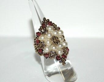 Swarovski Baroque crystals and pearls ring