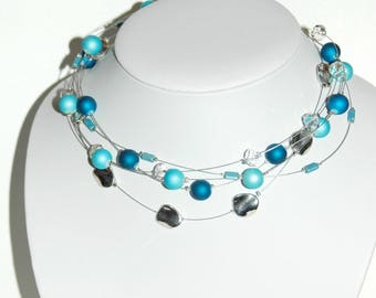Necklace multi strand wire and blue beads