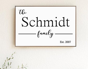Established Family Name Wood Sign | Home Sign | Farmhouse Sign | House Warming Gift | Anniversary | Holiday Gift | Wedding Gift