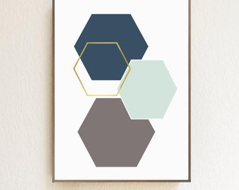 Geometric Hexagon Shapes Digital Download | Home Decor | Wall Art | Kid's Rooms