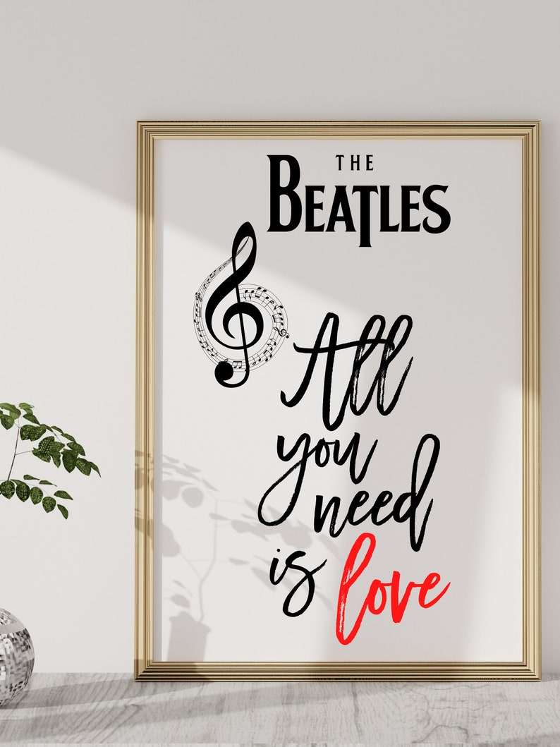 Music Posters|  Wall Art Wall Decor Song Lyrics Wall Art The Beatles All You Need Is Love Typography Poster Lyrics Music  Print
