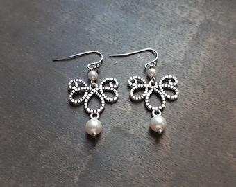 Amandine - Earrings bridal swarovski Pearl, wedding, retro, Gatsby, Vintage, packed, Bridal jewelry, earrings speaks