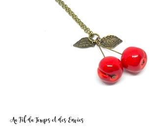 Cherry long necklace made of polymer clay