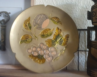 Decoration Dish plate Gold petals vintage Brass