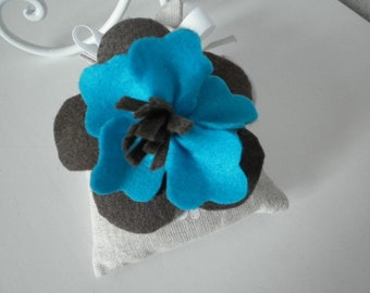 Turquoise and brown felt brooch