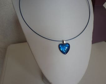 hand painted blue glass heart pendant necklace