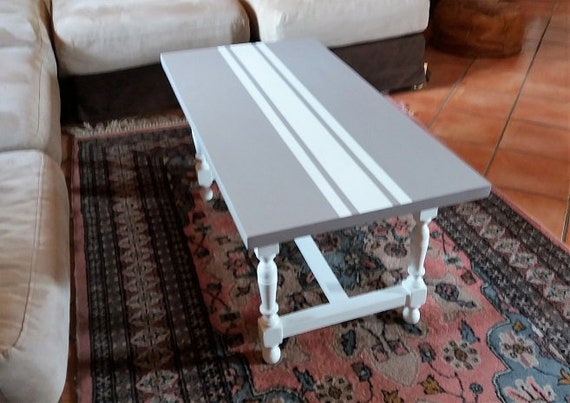 Table Basse En Bois Vintage Blanche Et Taupe