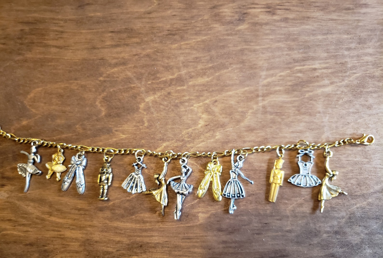 ballet bracelet with nutcracker victorian, vintage, recycled, up-cycled fashion jewelry in gold/silver tones on figaro chain w/1