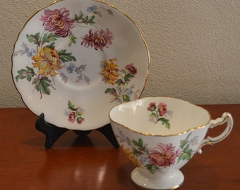 Hammersley AUTUMN GLORY Vintage  Footed Tea Cup and Saucer Made in England From The 1950s