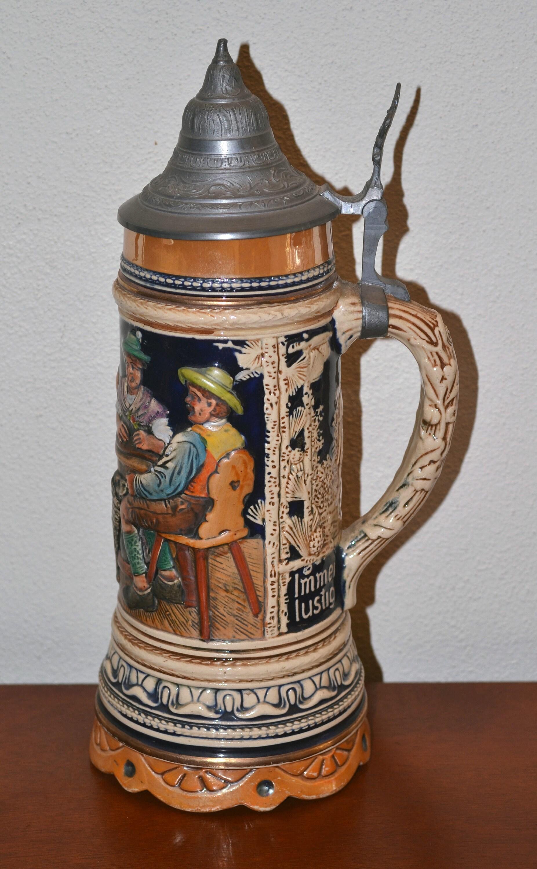 Columbus Lidded Beer Stein Gerz Germany New