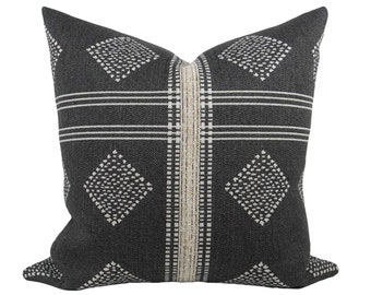 "Charcoal Grey & Cream Tribal Pillow Cover 20"", double sided // hand made throw pillow, black white gray, modern metal zipper, boho decor"