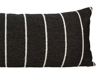 "Black & White Rustic Stripe Long Lumbar Pillow Cover, 14x36"" or 14x48"" // handmade pillow, black white, modern metal zipper, lumbar, boho"