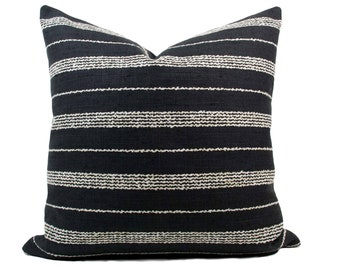 Black & Cream Multi Stripe Pillow Cover // hand made home, throw pillow, black white, modern metal zipper, home decor, lumbar, boho