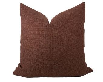 Clay Woven Pillow Cover // hand made home, rust throw pillow, modern metal zipper, home decor, lumbar, boho