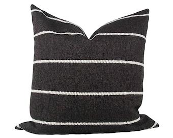 Black & White Rustic Stripe Pillow Cover // hand made home, throw pillow, black white, modern metal zipper, home decor, lumbar, boho