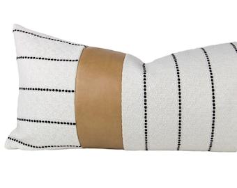 Cream & Black Striped Textured Pillow Cover w/ Tan Faux Leather Accent // hand made pillow, black white, modern metal zipper, lumbar, boho