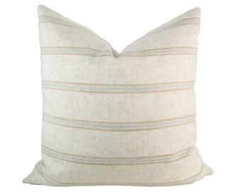 Oatmeal & Gold Striped Pillow Cover // hand made home, warm neutral throw pillow with modern brass zipper, home decor, lumbar, boho