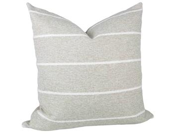 Sand & White Striped Textured Pillow Cover // hand made home, throw pillow, neutral, modern metal zipper, home decor, lumbar, boho