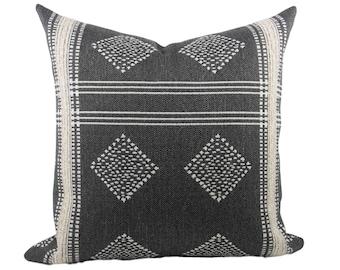 Charcoal Grey & Cream Tribal Pillow Cover, double sided // hand made throw pillow, black white, modern metal zipper, boho decor