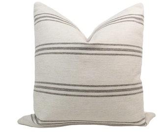 Cream & Black Farmhouse Stripe Pillow Cover // hand made, throw pillow, cream black, modern metal zipper, home decor, lumbar, rustic boho