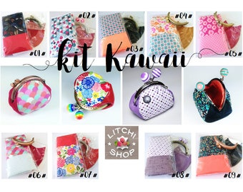 Kawaii Kit - fabric wallet & leather sewing - 9 versions available
