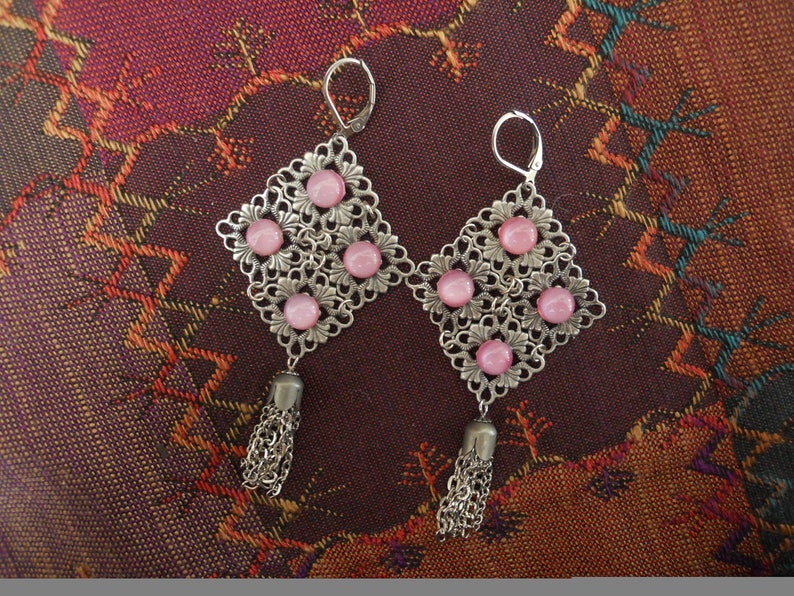 Romantic Earrings Antique Silvertone Filigrees Vintage Pink Stones Tassels Boho