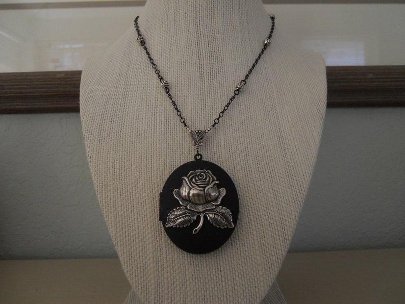 Large Black Locket Necklace Amazing Silver Rose Handmade Fancy Black Chain Rose Beads Victorian Mourning Memento Mori Romantic