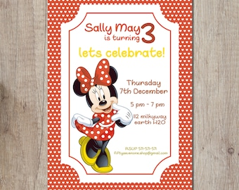Minnie Mouse Birthday Invitation Card Printable Editable Invite Instant Download PDF Girl Red Polka Dot