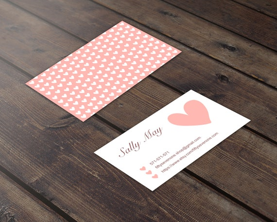 Hearts Business Card Cute Business Card Pink Business Card Etsy
