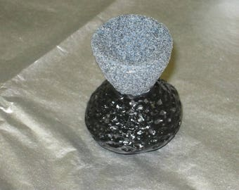 Miniature gray slate and black vase with embossed design