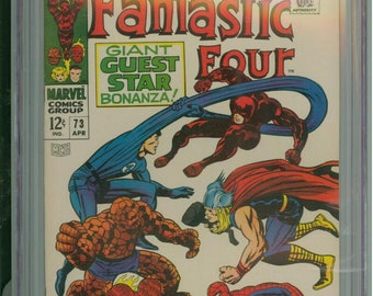 Fantastic Four #73 CGC 9.2 Daredevil, Spider-Man & Thor App 1968