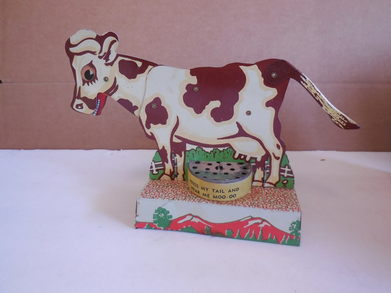 1960s Bossy the Moo Cow Original Box   Vintage Tin Litho Toy
