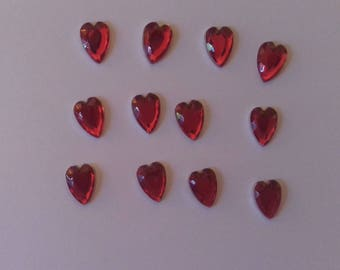 Set of 12 hearts Red