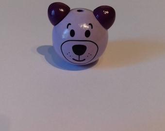 Wood 3D bear head bead