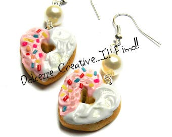 Heart Donut earrings - donut glazed Strawberry and vanilla with codette - miniature kawaii