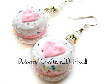 Macarons heart - macaroon with codette Rainbow and Strawberry - Jam - handmade earrings