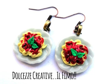 cheese and basil miniature fimo kawaii Spaghetti flat earrings with tomato sauce fake foods